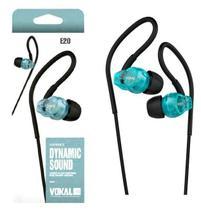 Fone de Ouvido Vokal In Ear E20 Azul com Plug Stereo Controle de Volume e Compatível com Smartphones -