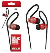 Fone de Ouvido Vokal In Ear E20 Red com Plug Stereo Controle de Volume e Compatível com Smartphones -