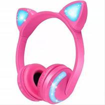 Fone Headphone Bluetooth Orelhas Gatinho Led Colorida Bass - Exbom