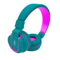 Fone headphone fluor hs107 verde/rosa c/ microfone  oex -