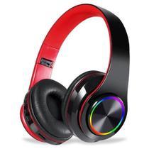Fone Headset Sem Fio 5.0 Com Led Dobrável Vermelho - Oestesom