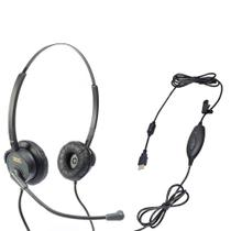 Fone Headset USB DH-60D Zox Duplo Auricular