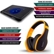 Fone Ouvido Bluetooth Amarelo + Base Gamer Notebook Led - Multilaser