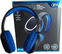 Fone Ouvido Bluetooth Mp3 Sem Fio Cartão Micro Sd Fm Headphone Azul - Knup