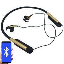 Fone Ouvido Headphone Bluetooth Sem Fio Esporte Flexível Estéreo Vibra Infokit HBT-82 Preto Dourado -