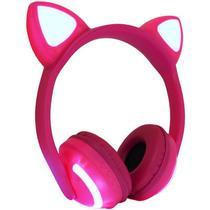 Fone Ouvido Headphone Bluetooth Sem Fio Estéreo Orelha Gato Led Infantil P2 Exbom HF-C240BT -