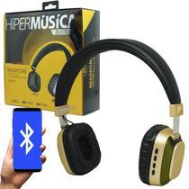 Fone Ouvido Headphone Bluetooth Sem Fio Led Moderno Estéreo P2 Infokit HBT-240 Preto Dourado -