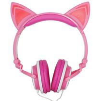 Fone Ouvido Headphone Com Fio Estéreo Orelha Gato Gatinho Led Infantil P2 Exbom HF-C22 Rosa Branco -