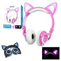 Fone Ouvido Headphone Com Fio Estéreo Orelha Gato Gatinho Led Infantil P2 Exbom HF-C22 Rosa -