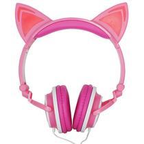 Fone Ouvido Headphone Com Fio Estéreo Orelha Gato Gatinho Led Infantil P2 Exbom HF-C22 -