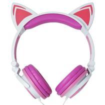 Fone Ouvido Headphone Orelha De Gato LED P2 com Fio Exboom -