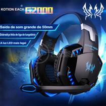 Fone Ouvido Headset Gamer USB LED Microfone G2000 PC, PS4, PS5 Azul - Kotion -