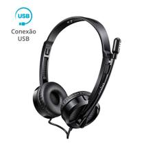 Fone Ouvido Headset USB com Microfone Rapoo Preto H120 -