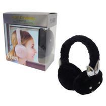 Fone Ouvido Pelucia Adulto Headphone P2 Microfone Preto Fofo - Yaji -