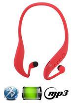 Fone Ouvido Sem Fio Sport Bluetooth Mp3 Fm Novo Design Lc702 Vermelho - Boas