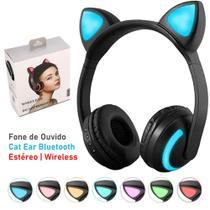 Fones de Ouvido CAT Ear com Leds Coloridos Headphone Orelhas de Gato Bluetooth Wireless Sem fio - zw-19
