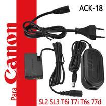Fonte Ack-e18 Adaptador Ac P/ Canon SL2 SL3 T7i T6s 77D 750D 760D EOS Kiss X8i X9i e 8000D Bateri - Ringteam