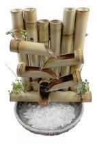 Fonte água bambu cascata 5 quedas com rebaixo e reservatório em resina - Bambumania