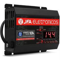 Fonte Automotiva JFA 10A Slim 140W Bivolt com Display Voltímetro e Amperímetro -