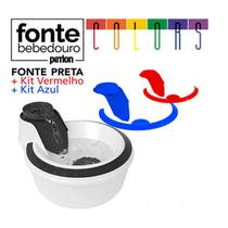 Fonte Bebedouro Petlon Colors Kit Preto / vermelho / Azul -