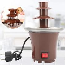 Fonte de Chocolate Cascata De Chocolate Fondue Frutas Doces Maquina Elétrica Profissional Festas e Eventos -