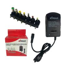 Fonte Universal Regulável Com 7 Plugs Bivolt 30w 3A - Xtrad