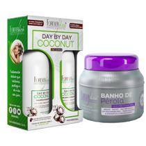 Forever Liss Banho de Pérola Máscara Matizante + Kit Coconut c/ Shampoo e Condicionador - Forever Liss Professional