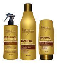 Forever Liss Banho De Verniz - Shampoo + Leve-in + Queratina -