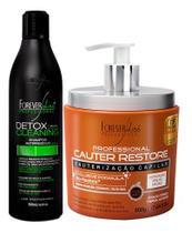 Forever Liss Cauter Restore + Shampoo Detox  Cleaning 500g -