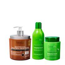 Forever Liss Cauterização Capilar Cauter Restore 500g + Kit Babosa(Shampoo 300ml + Máscara 250g) - Forever Liss Professional
