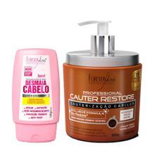 Forever Liss Cauterização Capilar Cauter Restore 500g + Leave-in Desmaia Cabelo 140g - Forever Liss Professional