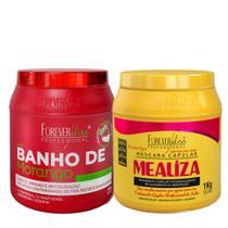 Forever Liss Kit Banho De Verniz Morango Máscara 1kg + Mealiza Máscara 1kg - Forever Liss Professional