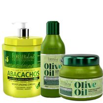 Forever Liss Kit Olive Oil + Abacachos Creme P/ Pentear Cabelos Cacheados - Forever Liss Professional