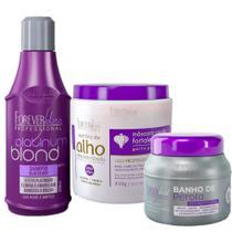 Forever Liss Kit Shampoo Platinum Blond + Banho de Peróla + Máscara de Alho - Forever Liss Professional