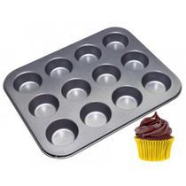 Forma Assadeira Cupcake 12 Cavidades Antiaderente Teflon - Box7