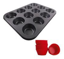 Forma Assadeira Cupcakes 12 Cavidades Forminhas De Silicone - Well