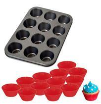 Forma Assadeira de Aço Carbono Antiaderente para Cupcakes com 12 Cavidades + 12 Formas de Silicone - Rio Tijucas