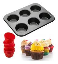 Forma Cupcake 6 Cavidades Mini Bolos Forminhas Silicone - Well
