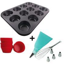 Forma Cupcakes 12 Cavidades Aço +  Kit Confeiteiro 8 peças - Wellmix