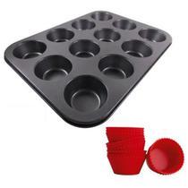 Forma Cupcakes Antiaderente 12 Forminhas De Silicone 35x26Cm - Wm