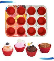 Forma De Cupcake 12 Cavidades Com 12 Forminhas de Silicone - Purus