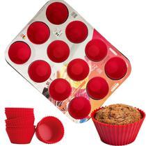 Forma de Cupcake 12 cavidades com Forminhas de Silicone 35cm - Rio Tijucas