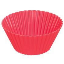 Forma de Silicone Forno Bolo Cupcake Pudim Doces 4 Unidades Vermelho - Zanline