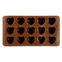 Forma de silicone marrom para chocolate coração - Sublime Cozinha