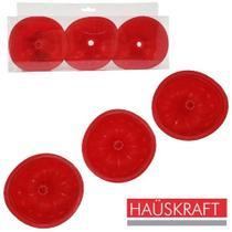 Forma de Silicone Mini Redonda com 3 Pecas Vermelha Fabricação De Mini Pudim Mini Bolo - Hauskraft