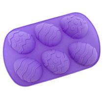 Forma de Silicone para Ovo de Pascoa com 6 Cavidades Pequenas Roxa  Mandiali -