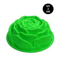 Forma de Silicone Rosa Flor Bolo Sobremesa Doces Torta Antiaderente Assadeira Cozinha Kit 2 Uni - Braslu