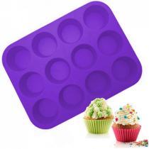 Forma em Silicone para Cupcake e Pao de Queijo 12 Cavidades Roxa  Kehome -