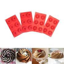Forma  Mini Bolo Cupcake Espiral Silicone Vermelha 6 Cavidades Kit com 4 - Ajato Store