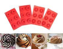 Forma  Mini Bolo Cupcake Espiral Silicone Vermelha 6 Cavidades Kit com 4 - Fap